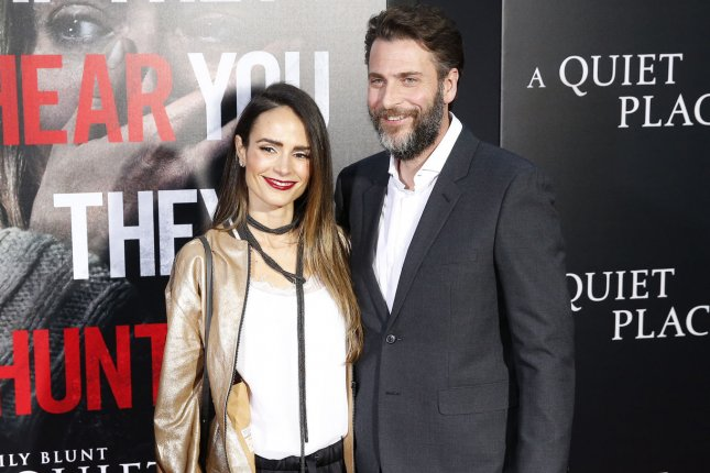 Jordana Brewster (L) and Andrew Form arrive at the premiere of A Quiet Place on April 2018. Brewster has filed for divorce from Form. File Photo by John Angelillo/UPI