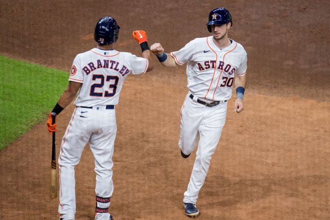 Houston Astros outfielder Kyle Tucker (R) had two RBIs in the Astros' 3-1 win over the Minnesota Twins on Wednesday. File Photo by Trask Smith/UPI