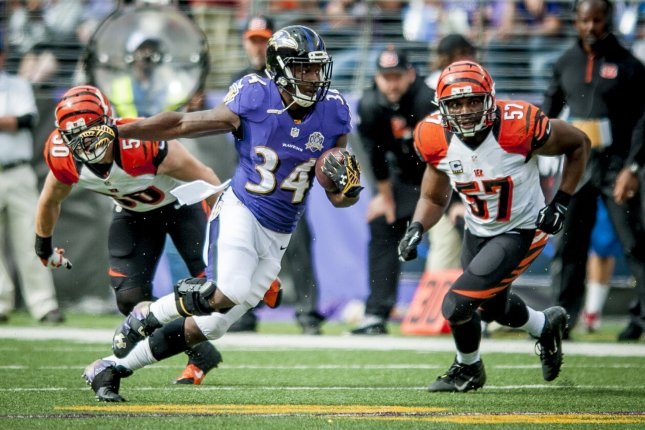 Former Baltimore Ravens running back Lorenzo Taliaferro (34) spent three seasons in Baltimore, totaling 339 rushing yards and five touchdowns in 19 games. File Photo by Pete Marovich/UPI