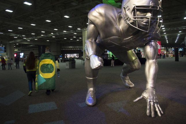 University of Oregon football strength coach Irele Oderinde was suspended for one month without pay Tuesday after three players were hospitalized following three days of rigorous workouts. File Photo by Kevin Dietsch/UPI