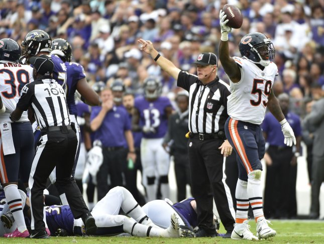 Chicago Bears linebacker Danny Trevathan (59) celebrates after recovering a fumble during a game against the Baltimore Ravens last season. Photo by David Tulis/UPI