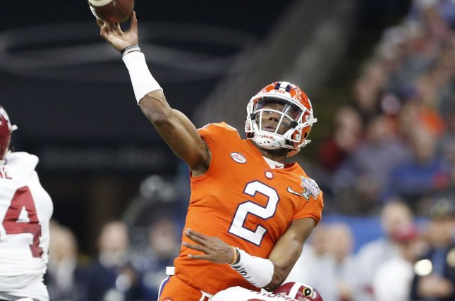 Clemson Tigers quarterback Kelly Bryant (2) is hit by Alabama Crimson Tide defensive back Deionte Thompson (14) as he releases the ball in the second quarter of the Allstate Sugar Bowl on January 1, 2018 at the Mercedes-Benz Superdome in New Orleans. Photo by AJ Sisco/UPI
