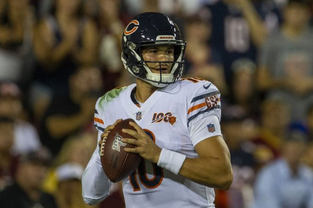 Chicago Bears quarterback Mitchell Trubisky sustained a left shoulder injury on the Bears' sixth offensive play of the game against the Minnesota Vikings. Photo by Tasos Katopodis/UPI