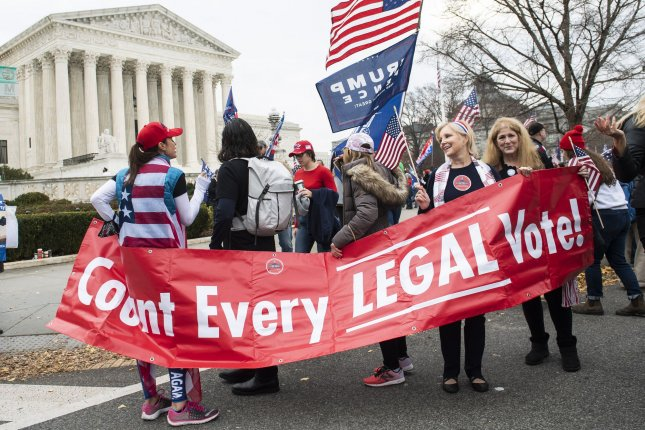 Supporters of President Donald Trump rally at the U.S. Supreme Court in Washington, D.C., on December 12, 2020, to claim, without evidence, that widespread fraud cost Trump the presidential election. No evidence of fraud has been found and all cases challenging Biden's victory have been thrown out of courts nationwide. File Photo by Kevin Dietsch/UPI
