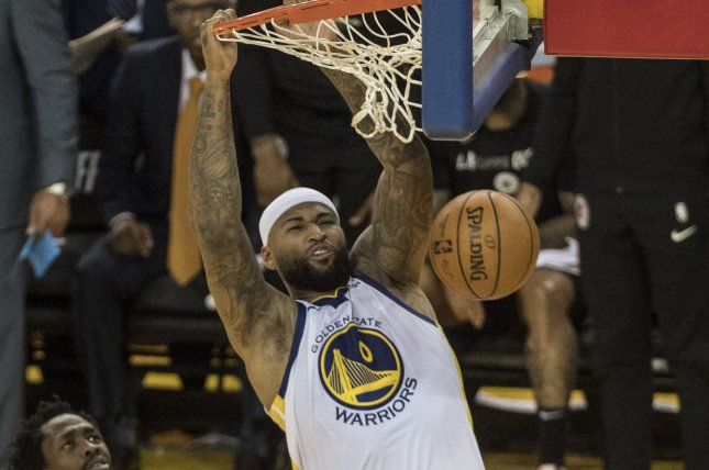 Former Golden State Warriors center DeMarcus Cousins, who signed a one-year contract with Houston in December, averaged 9.6 points and 7.6 rebounds over 25 games with the Rockets this season. File Photo by Terry Schmitt/UPI