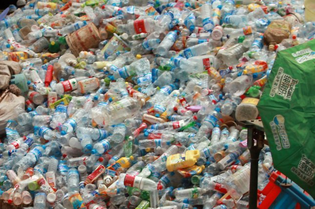 A mound of recyclables in China. That country banned the importation of plastics in 2018, diverting much plastics waste to Turkey. UPI/Stephen Shaver