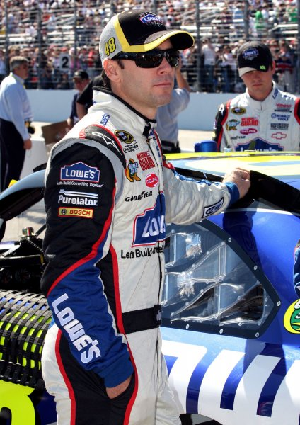 Jimmie Johnson awaits the start of the NASCAR Sylvania 300 at New Hampshire Motor Speedway in Loudon, N.H., Sept. 20, 2009. UPI/Malcolm Hope