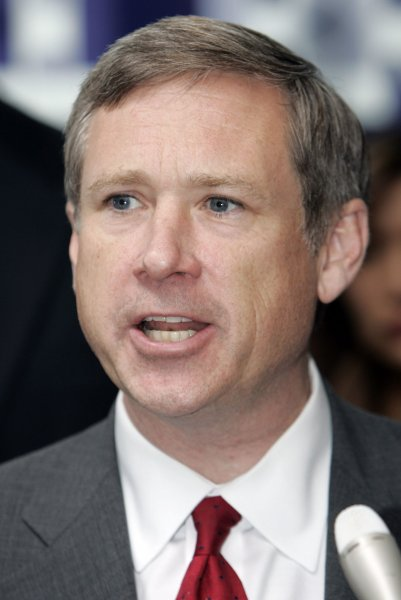 U.S. Senate candidate Mark Kirk (R-IL) speaks to supporters during a campaign stop with other members of the Illinois Republican ticket at Willard Airport in Champaign, IL., November 1, 2010. UPI Photo/Mark Cowan