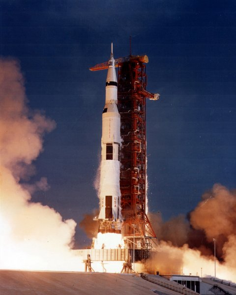 The mammoth-sized Saturn V rocket lifts off on it's way to the moon during the Apollo 11 mission. File photo by NASA/UPI