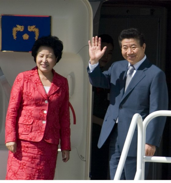 Former South Korean President Roh Moo-hyun and his wife Kwon Yang. (UPI Photo/Jim Bryant)