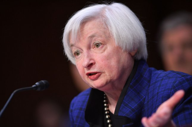 Janet Yellen, chairwoman of the Board of Governors of the Federal Reserve System, said Friday an interest rate hike might be on the horizon. File Photo by Kevin Dietsch/UPI