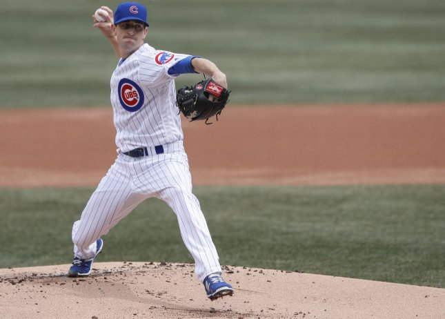Kyle Hendricks and the Chicago Cubs take on the Pittsburgh Pirates on Sunday. Photo by Kamil Krzaczynski/UPI