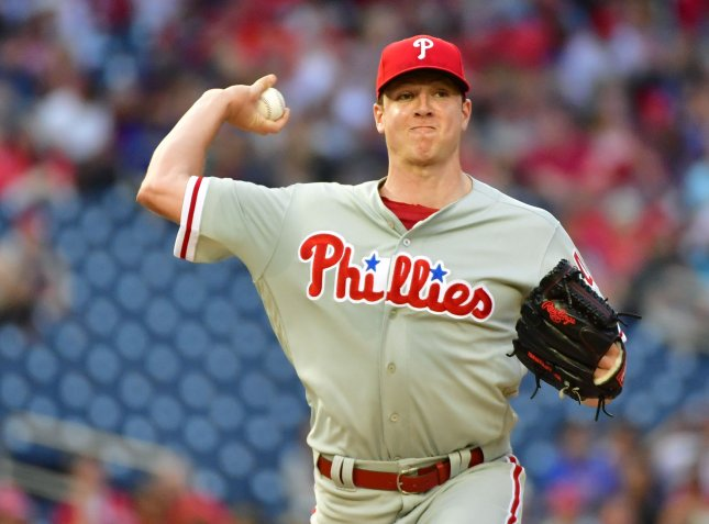 Nick Pivetta and the Philadelphia Phillies take aim at the Chicago Cubs on Friday. Photo by Kevin Dietsch/UPI