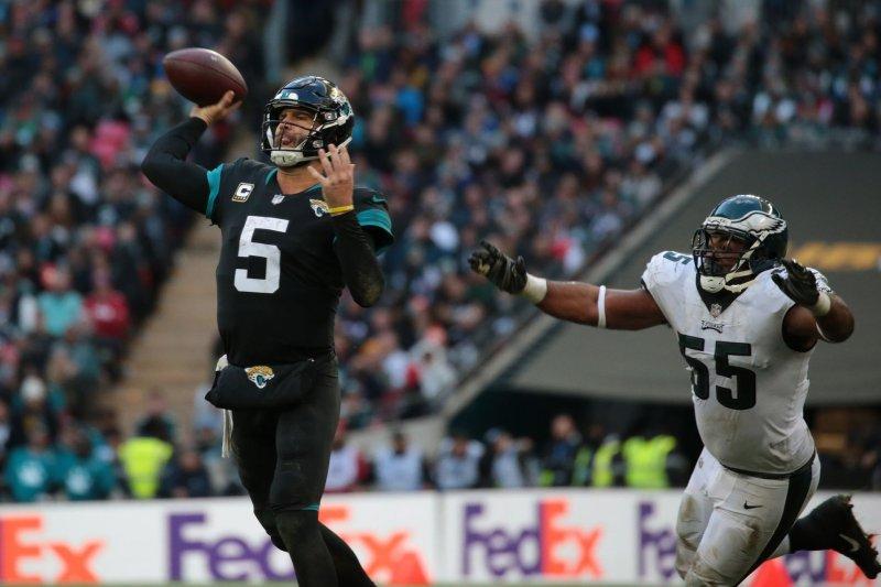 Jacksonville Jaguars quarterback Blake Bortles (5) throws the football against the Philadelphia Eagles on Sunday at Wembley Stadium in London. Photo by Hugo Philpott/UPI