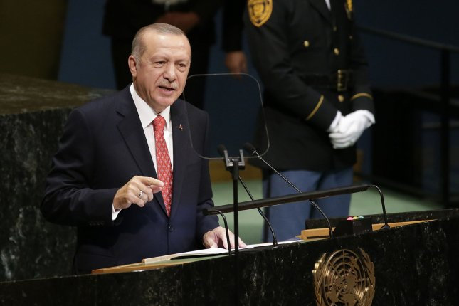 Turkish President Recep Tayyip Erdogan blasted the U.S. sanctions on Iran saying it will unbalance the world. Photo by John Angelillo/UPI