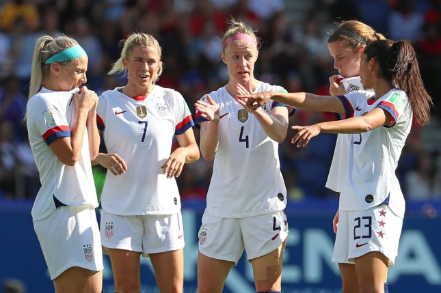 Julie Ertz (L), Abby Dahlkemper (7), Becky Sauerbrunn (4), Tierna Davidson (2-R) and Christen Press (23) hope to help the United States Women's National Team go undefeated in Group F at the 2019 FIFA Women's World Cup with a win against Sweden on Thursday in Le Havre, France. Photo by David Silpa/UPI