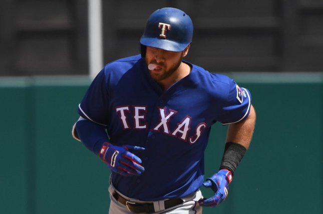 Texas Rangers Joey Gallo has been activated from the team's injured list after suffering a left oblique strain June 1. Gallo has a team-high 17 homers in 2019. File Photo by Terry Schmitt/UPI