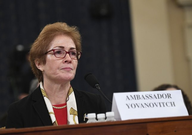 Marie Yovanovitch, former U.S. Ambassador to Ukraine, testified before the House Permanent Select Committee on Intelligence as part of the impeachment inquiry into President Donald Trump, on Capitol Hill in Washington, DC, in November. File Photo by Kevin Dietsch/UPI