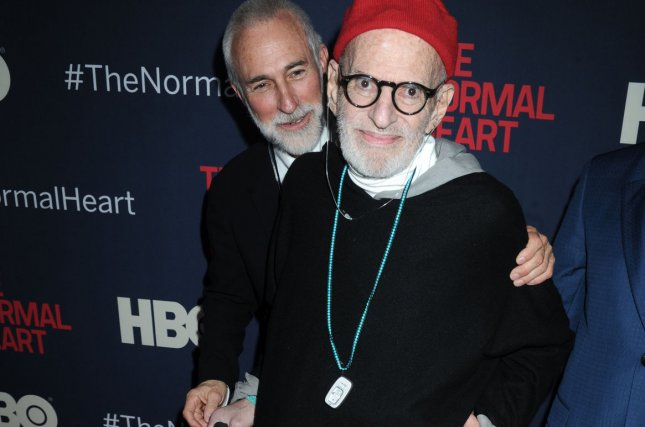 Larry Kramer arrives on the red carpet at The Normal Heart New York screening at Ziegfeld Theater in New York City on May 12, 2014. Kramer died Wednesday. Photo by Dennis Van Tine/UPI