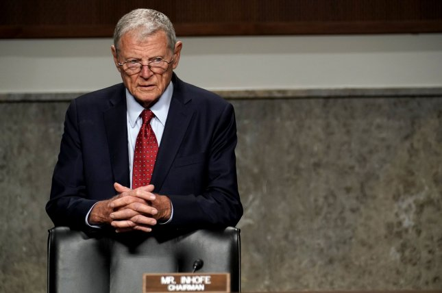Senate Armed Services Committee Chairman James Inhofe (R-Okla.), shown here at a hearing in May, abruptly canceled a scheduled confirmation hearing for a senior civilian position in the Trump administration. Pool Photo by Greg Nash/UPI