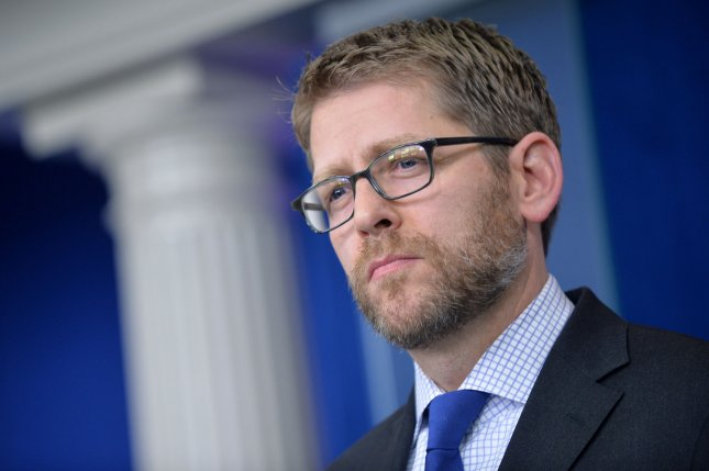 Press Secretary Jay Carney says so long to the White House. UPI/Kevin Dietsch