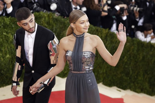 Zayn Malik (L) and Gigi Hadid at the Costume Institute Benefit at the Metropolitan Museum of Art on May 2. File photo by John Angelillo/UPI