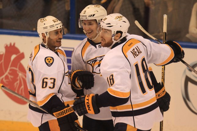 James Neal's (R) wrister from the high slot at 2:11 pushed Nashville to a 5-4 victory over the desperate Winnipeg Jets at Bridgestone Arena. File Photo by Bil Greenblatt/UPI