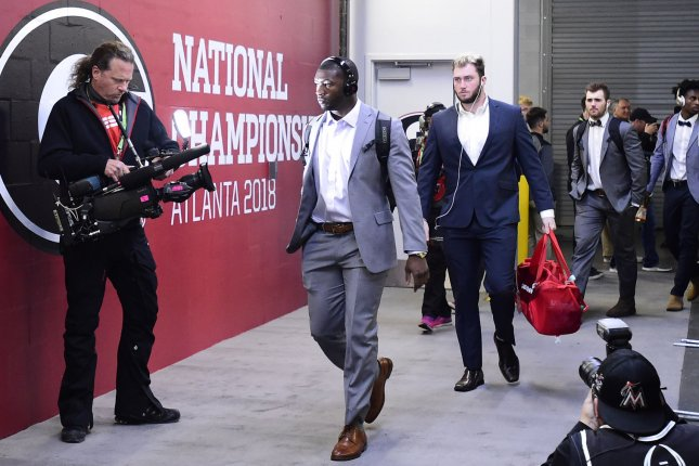 Georgia Bulldogs linebacker Roquan Smith (C) arrives for the NCAA College Football Playoff National Championship against Alabama at Mercedes-Benz Stadium on January 8, 2018 in Atlanta. Photo by David Tulis/UPI