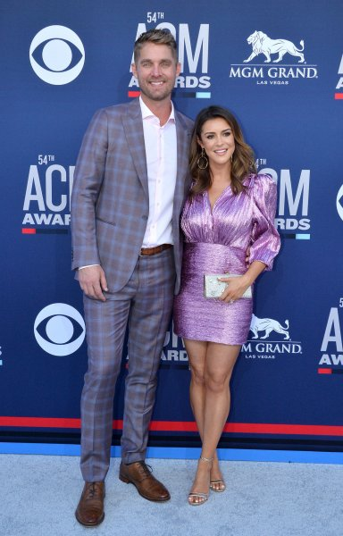 Brett Young (L) and Taylor Young attend the Academy of Country Music Awards on Sunday. Photo by Jim Ruymen/UPI