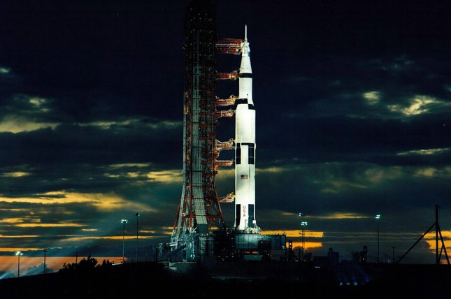 Spotlights illuminate the Apollo 17 spacecraft at the Kennedy Space Center before a night launch on December 7, 1972. The crew left the lunar surface on December 14, marking the last time any human crew has been on the moon. UPI File Photo