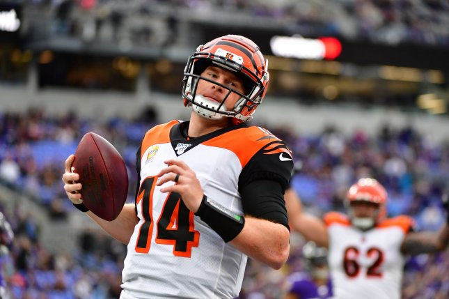 Andy Dalton (14) requested his release from the Cincinnati Bengals one week after the AFC North franchise selected former LSU quarterback Joe Burrow with the No. 1 overall pick in the 2020 NFL Draft. File Photo by David Tulis/UPI