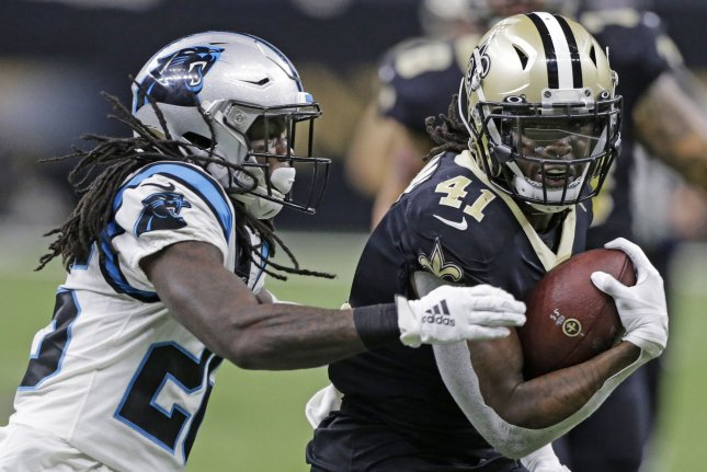 New Orleans Saints running back Alvin Kamara (41) scored twice last week and is my No. 1 fantasy football running back in Week 2. File Photo by AJ Sisco/UPI