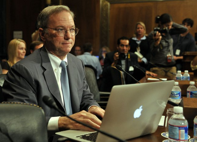 Eric Schmidt, executive chairman of Google, prepares to testify before the Senate Judiciary Committee Antitrust, Competition Policy and Consumer Rights Subcommittee hearing regarding whether the power of Google serves consumers or threatens competition on Capitol Hill in Washington, DC, on September 21, 2011. UPI/Roger L. Wollenberg