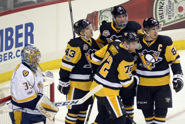 Pittsburgh Penguins right wing Patric Hornqvist celebrates the second of two goals in the second period against Nashville Predators at the PPG Paints Arena in Pittsburgh on January 31, 2017. The teams will face off in the Stanley Cup Finals, which begin on Monday night. File photo by Archie Carpenter/UPI