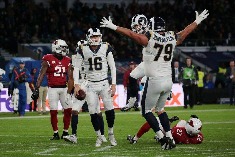 Los Angeles Quarter Back Jared Goff celebrates scoring a touchdown in the NFL International Series match against the Arizona Cardinals at Twickenham Stadium, London on October 22, 2017. File photo by Hugo Philpott/UPI
