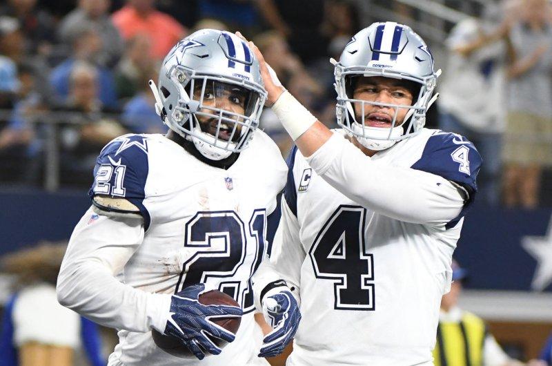 82134ed3a Dallas Cowboys quarterback Dak Prescott (4) congratulates running back  Ezekiel Ellott following his 16-yard touchdown catch against the New  Orleans Saints ...