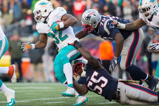 Former Miami Dolphins running back Kenyan Drake (32) was traded to the Arizona Cardinals last week. Without Mark Walton and Drake, Kalen Ballage is expected to start for the Miami Dolphins. File Photo by Matthew Healey/UPI