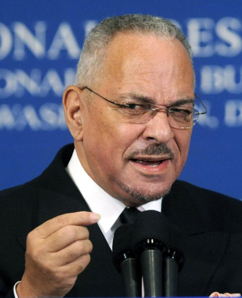 Rev. Jeremiah Wright, pastor of Trinity United Church of Christ (TUCC) and former spiritual mentor of democratic presidential candidate Barack Obama, speaks at the Nationals Press Club in Washington on April 28, 2008. Wright spoke on black theology and its traditions throughout American history and said that the recent media attacks on himself were really attacks on the black church. (UPI Photo/Kevin Dietsch)