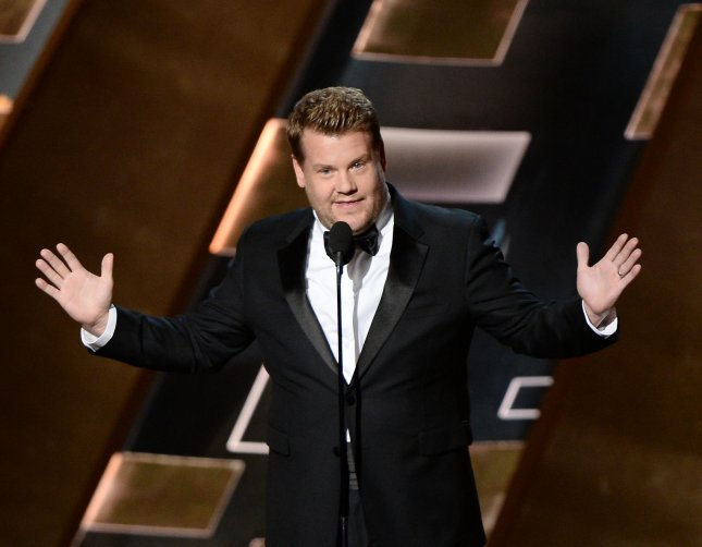 Television personality James Corden, seen onstage during the 67th Primetime Emmy Awards 2015, will host this year's 70th Tony Awards, airing on CBS June 12. File Photo by Ken Matsui/UPI.