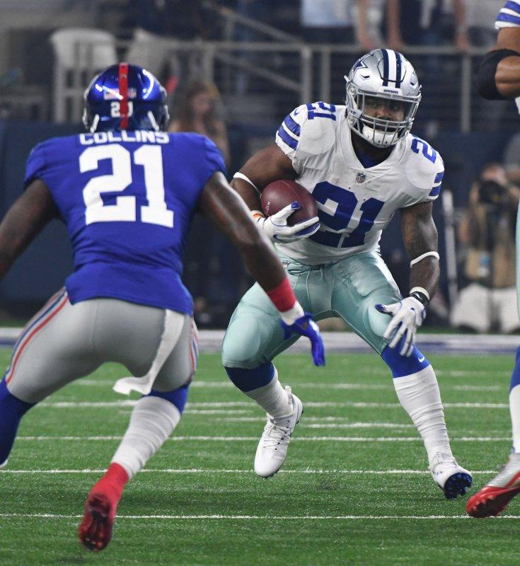 Dallas Cowboys running back Ezekiel Elliott runs for short yardage against the New York Giants during their game Sunday night. Photo by Ian Halperin/UPI