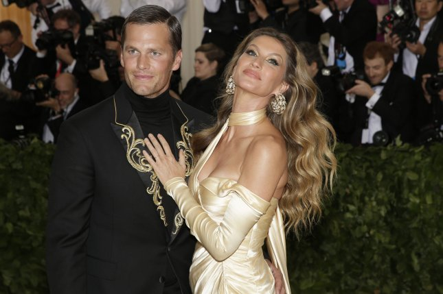 Tom Brady (L) and Gisele Bundchen arrive on the red carpet at The Metropolitan Museum of Art's Costume Institute Benefit Heavenly Bodies: Fashion and the Catholic Imagination on May 7, 2018 at Metropolitan Museum of Art in New York City. Photo by John Angelillo/UPI
