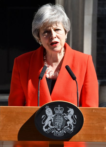 British Prime Minister Theresa May tenders her resignation Friday outside No.10 Downing Street in London after months of continued abuse from her party for failing to deliver Brexit. Photo by Hugo Philpott/UPI