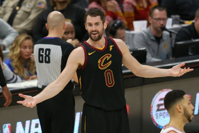 Cleveland Cavaliers forward Kevin Love signed a four-year, $120 million extension with the Cavs in the summer of 2018. File Photo by Aaron Josefczyk/UPI