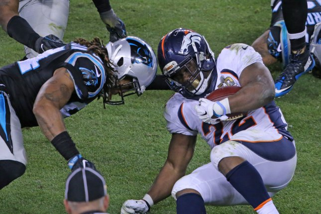 A study of 40 former NFL players finds nearly 40 percent of retired players could have brains injuries. Pictured, Carolina Panthers Kony Ealy (L) goes helmet to helmet with Denver Broncos C.J. Anderson (22) after a short gain in the fourth quarter of Super Bowl 50 at Levi's Stadium in Santa Clara, California, February 7, 2015. The Denver Broncos defeated the Carolina Panthers 24-10. File photo by Khaled Sayed/UPI