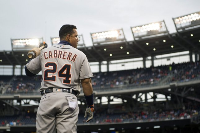 Detroit Tigers first baseman Miguel Cabrera (24). Photo by Kevin Dietsch/UPI