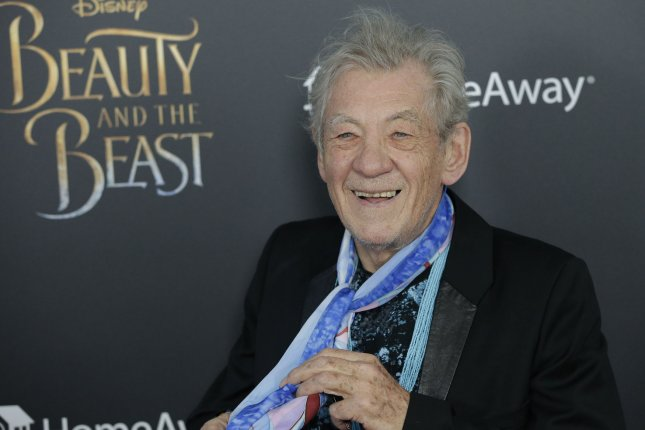 Ian McKellen attends the New York premiere of Beauty and the Beast on March 13. The actor will reprise the role of wizard Gandalf of Lord of the Rings in an upcoming show for charity. File Photo by John Angelillo/UPI