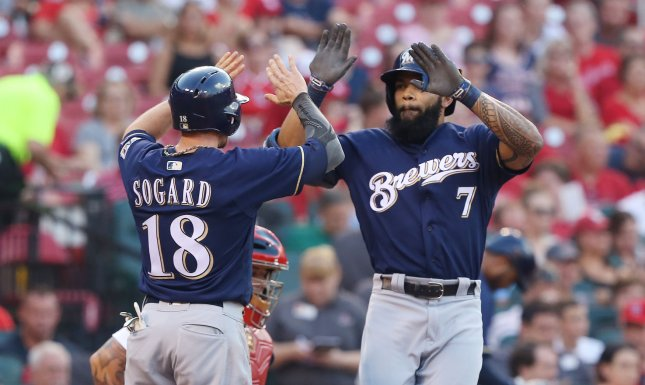Eric Sogard and the Milwaukee Brewers topped the Cincinnati Reds on Saturday. Photo by Bill Greenblatt/UPI
