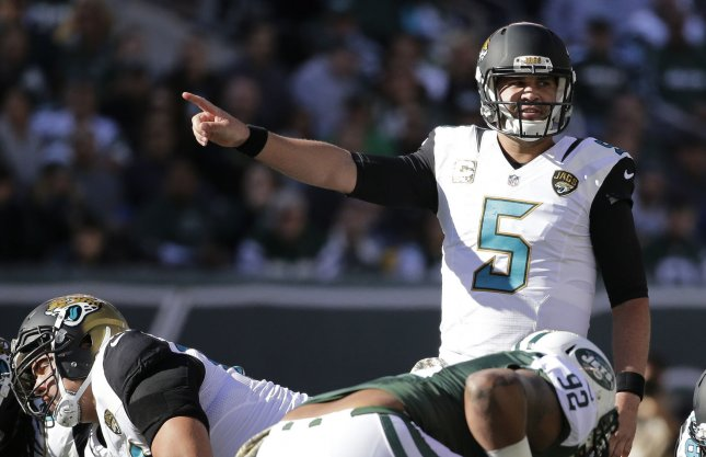 Blake Bortles and the Jacksonville Jaguars held off the Houston Texans in the season-opener for both teams Sunday. Photo by John Angelillo/UPI