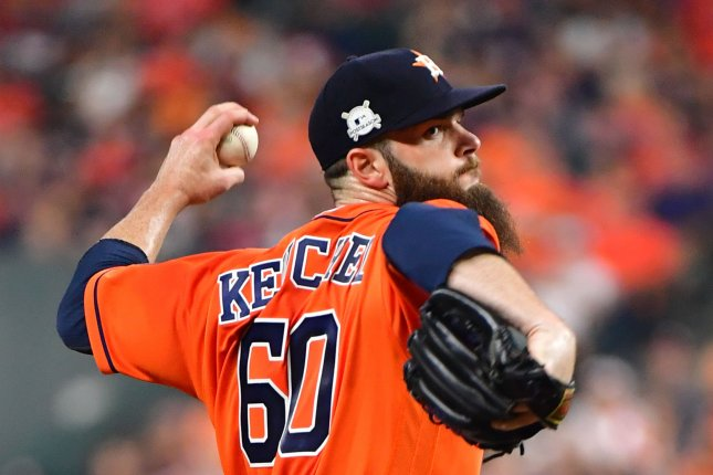 Houston Astros starting pitcher Dallas Keuchel (60) delivers to the New York Yankees during the first inning of Game 1 of the ALCS on Friday at Minute Made Park in Houston. Photo by Kevin Dietsch/UPI