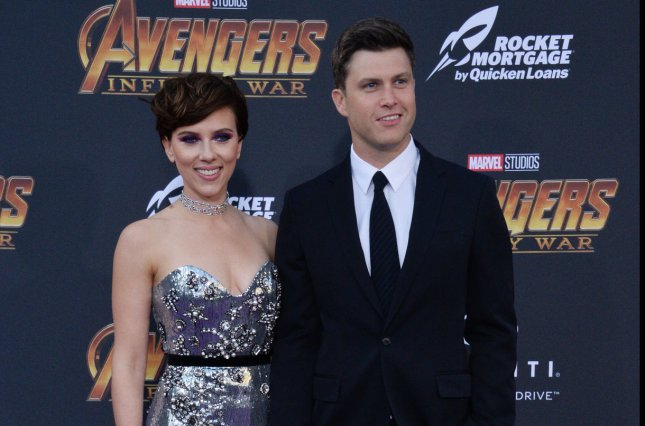 Scarlett Johansson (L) and Colin Jost attend the Los Angeles premiere of Avengers: Infinity War on Monday. Photo by Jim Ruymen/UPI